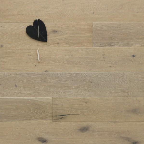 Parkett Eiche Elfenbein, Markant, antik, gebürstet, gekalkt, weiß UV geölt, Soft Lock Klick Verbindung, 14 x 155 x 2200 mm