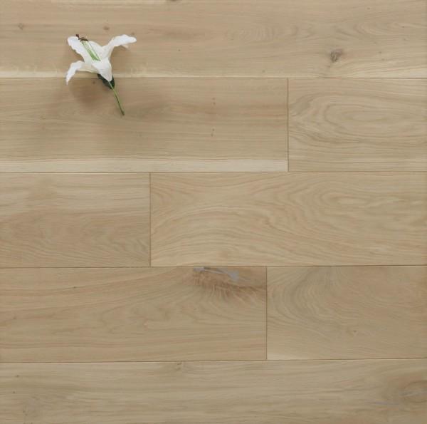 Holzdielen Eiche, roh bzw. unbehandelte Oberfläche, 20 x 200 mm, Systemlängen von 500 bis 2000 mm, massiv, Kanten gefast, Nut / Feder Verbindung