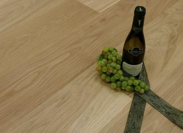 Parkett Eiche Chablisien aus der Serie Vinum, Markant, gebürstet, noch unbehandelte Oberfläche, Soft Lock Klick Verbindung, 14 x 180 x 2200 mm