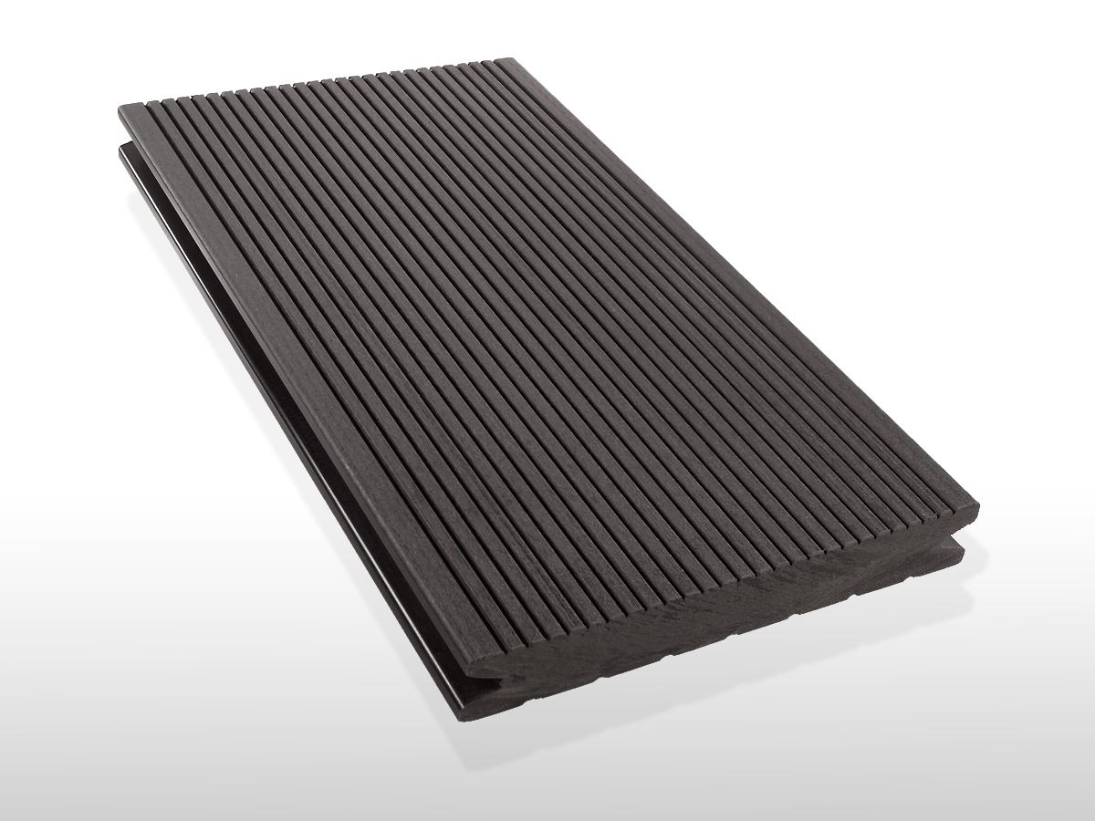 WPC Terrassendielen massiv, Oberfläche fein gerillt, Farbton dunkelgrau, 22 x 143 bis 4800 mm für 7,90 €/lfm