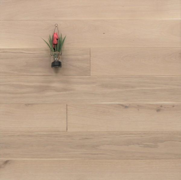 Holzdielen Eiche, mit einem Naturöl weiß geölt, 20 x 140 mm, Systemlängen von 500 bis 2000 mm, massiv, Kanten gefast, Nut / Feder Verbindung