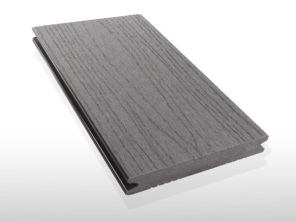 WPC Dielen massiv, Oberfläche mit Struktur in Holzoptik, Farbton hellgrau, Vollprofil, 22 x 143 bis 4800 mm für 7,90 €/lfm