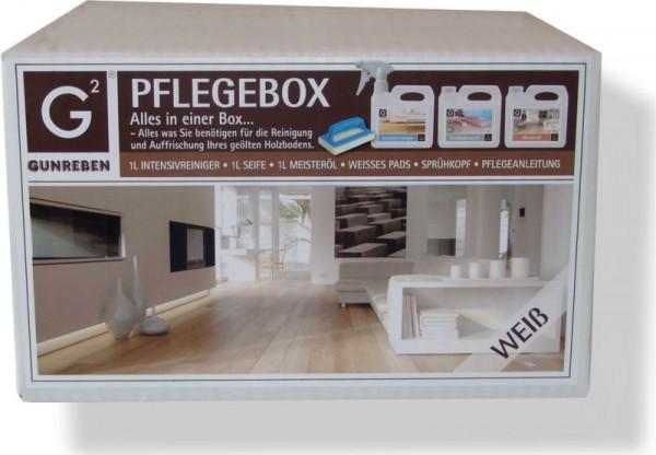 Komplettpaket Gunreben Pflegebox weiß, Set mit je 1,0 Liter Intensivreiniger, Öl und Seife für weiß geölte Holzböden