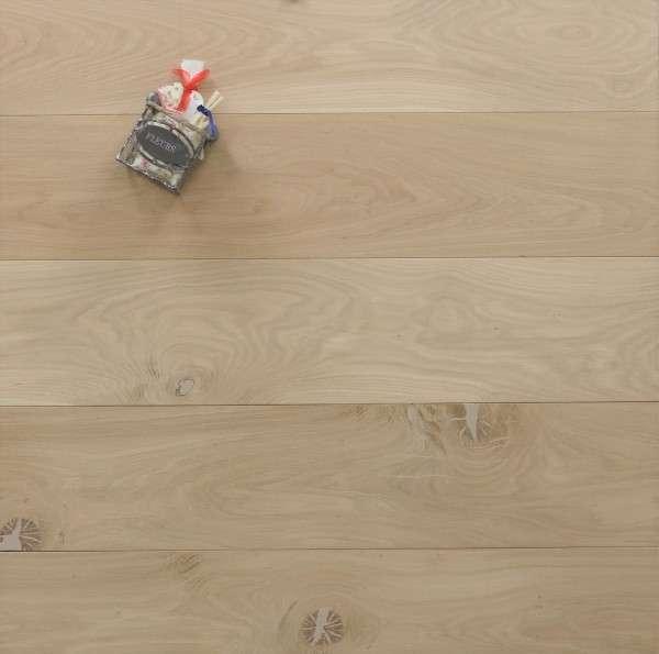 Schlossdielen Eiche, 20 x 180 / 200 mm von 1800 bis 5100 mm, aus massivem Holz, roh bzw. unbehandelte Oberfläche, Kanten gefast, Nut / Feder Verbindung