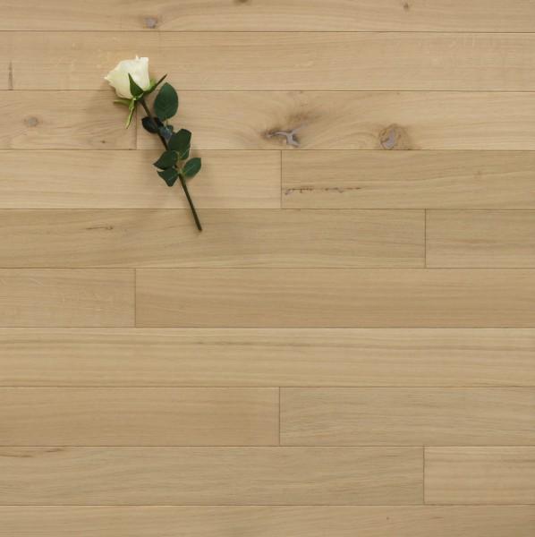 Holzdielen Eiche, roh bzw. unbehandelte Oberfläche, 10 x 100 mm, Systemlängen von 400 bis 1200 mm, massiv, Kanten gefast, Nut / Feder Verbindung