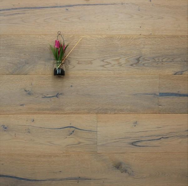 Parkett Eiche Wagner aus der Serie Classic, Rustikal, gebürstet, mit einem Naturöl weiß geölt, Drop Down Klick Verbindung, 14 x 190 x 1900 mm