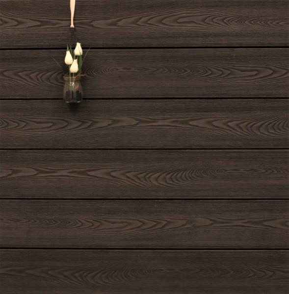 WPC Dielen massiv, Oberfläche mit Struktur in Holzoptik, bicolor im Farbton Thermoesche, Vollprofil, 22 x 143 bis 4800 mm für 10,90 €/lfm