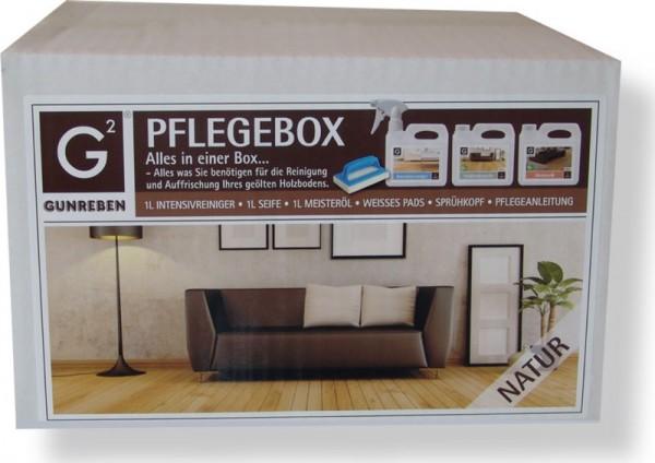 Komplettpaket Gunreben Pflegebox natur, Set mit je 1,0 Liter Intensivreiniger, Öl und Seife für geölte Holzböden