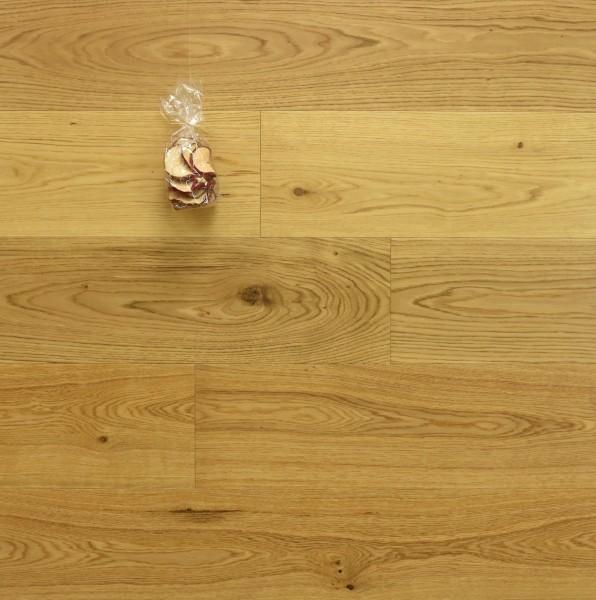 Parkett Eiche Ortler aus der Serie Mountain, Markant, seidenmatt lackiert, Drop Down Klick Verbindung, 15 x 190 x 1900 mm