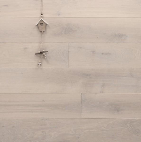 Schlossdielen Eiche, 21 x 180 / 200 mm von 2600 bis 5000 mm, aus massivem Holz, Abmessungen nach Ihren Vorgaben, mit Osmo Hartwachsöl 5269 extra weiß geölt, Kanten gefast, Nut / Feder Verbindung, Sonderanfertigung nach Kundenwunsch